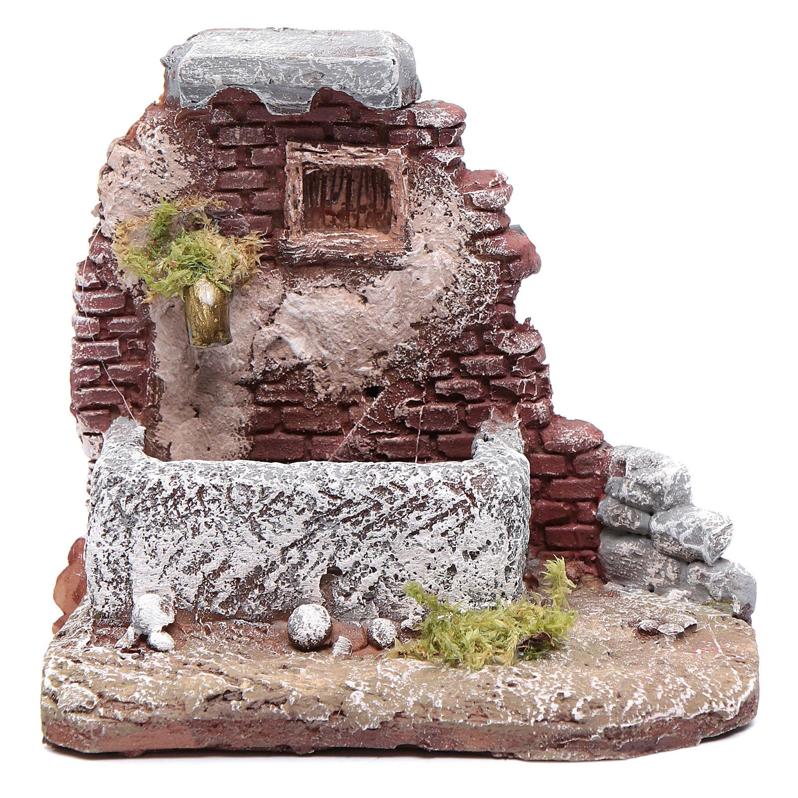 Neapolitan nativity scene fountain in resin 10x10x10 cm with pump 4