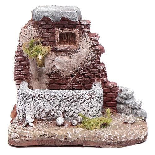 Neapolitan nativity scene fountain in resin 10x10x10 cm with pump 1
