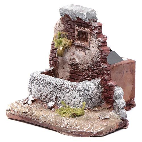 Neapolitan nativity scene fountain in resin 10x10x10 cm with pump 2