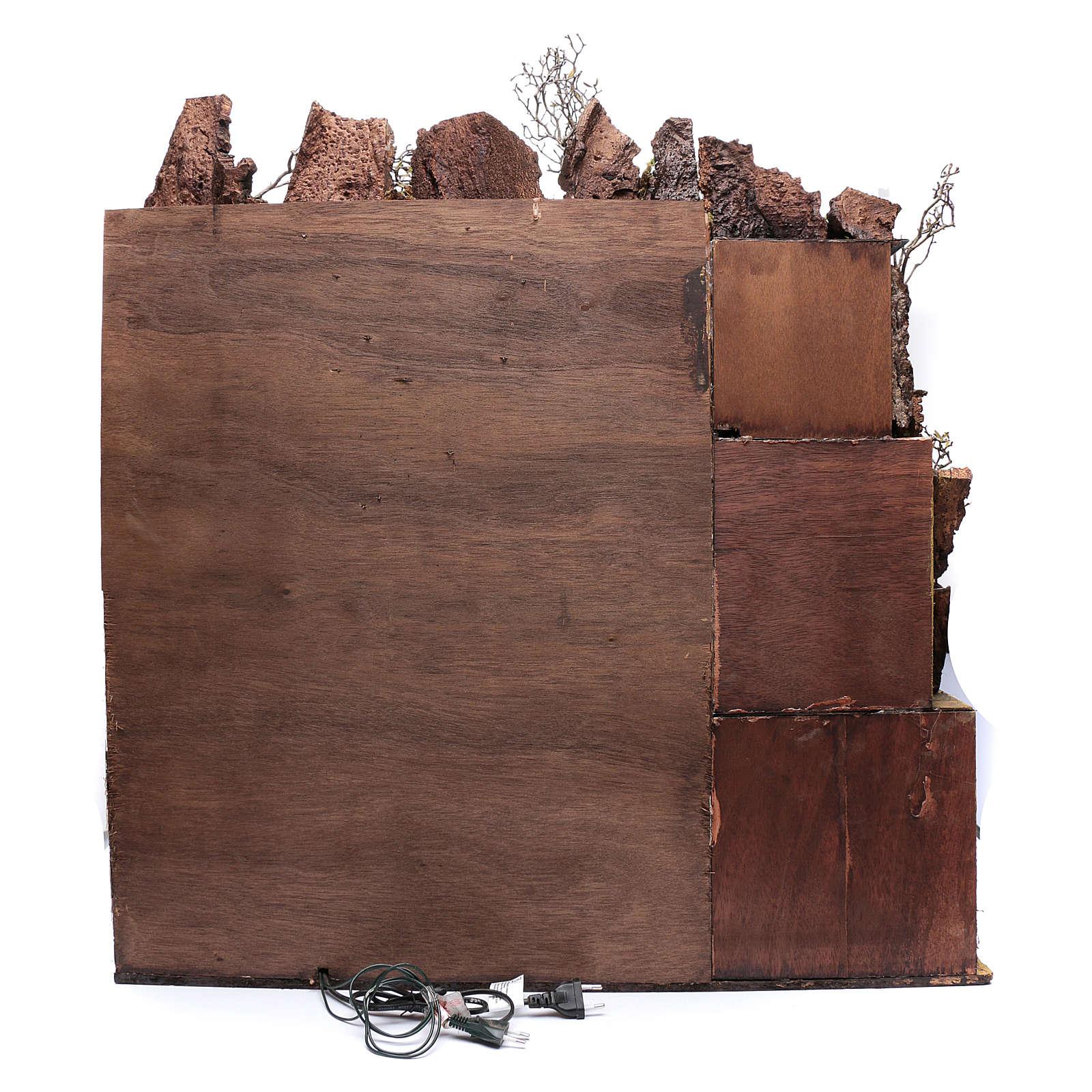 Bâtiment style XVIII s. et réverbères crèche napolitaine 87x80x58 cm 4