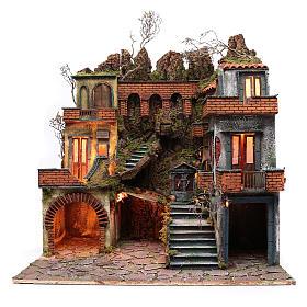 Bâtiment style XVIII s. et réverbères crèche napolitaine 87x80x58 cm s1