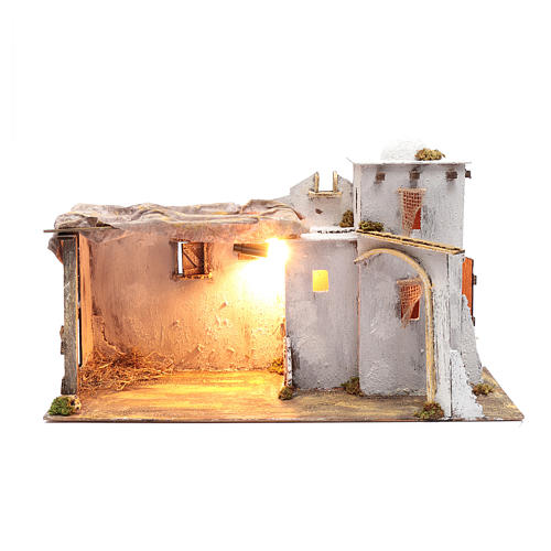 Arabian style Neapolitan Nativity scene setting with hut  35x60x25 cm 1