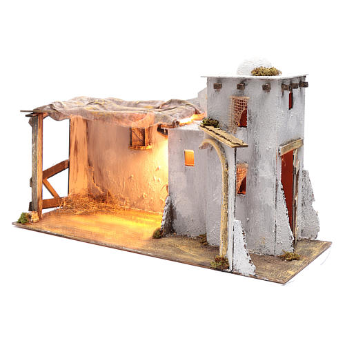 Arabian style Neapolitan Nativity scene setting with hut  35x60x25 cm 2