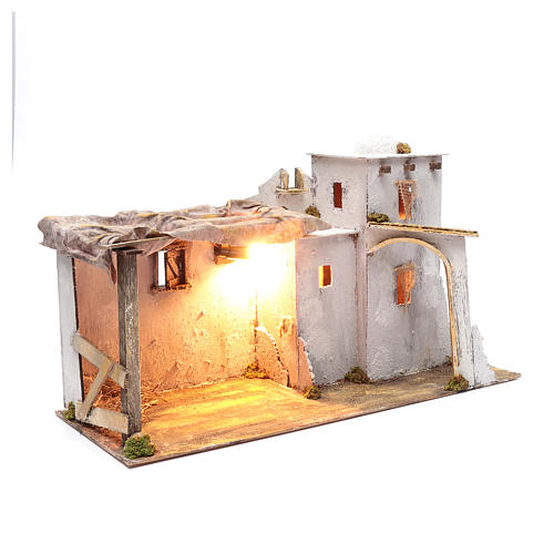 Arabian style Neapolitan Nativity scene setting with hut  35x60x25 cm 3