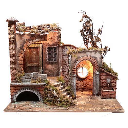 Ambientación cortijo moro con portal 35x60x25 cm pesebre Nápoles 5