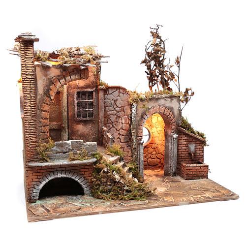 Ambientación cortijo moro con portal 35x60x25 cm pesebre Nápoles 7