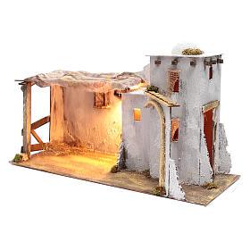 Arabian style Neapolitan Nativity scene setting with hut  35x60x25 cm s2