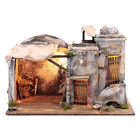 Cenário casa árabe e cabana 30x42,2x23 cm presépio de Nápoles s1