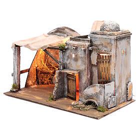 Cenário casa árabe e cabana 30x42,2x23 cm presépio de Nápoles s2