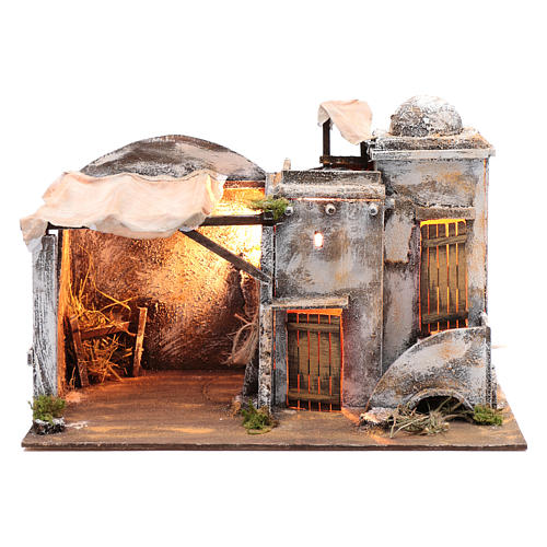 Cenário casa árabe e cabana 30x42,2x23 cm presépio de Nápoles 1