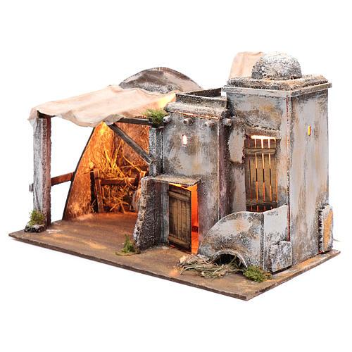 Cenário casa árabe e cabana 30x42,2x23 cm presépio de Nápoles 2
