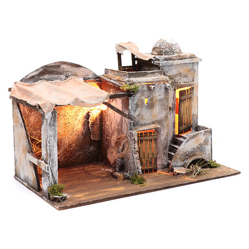 Cenário casa árabe e cabana 30x42,2x23 cm presépio de Nápoles 3