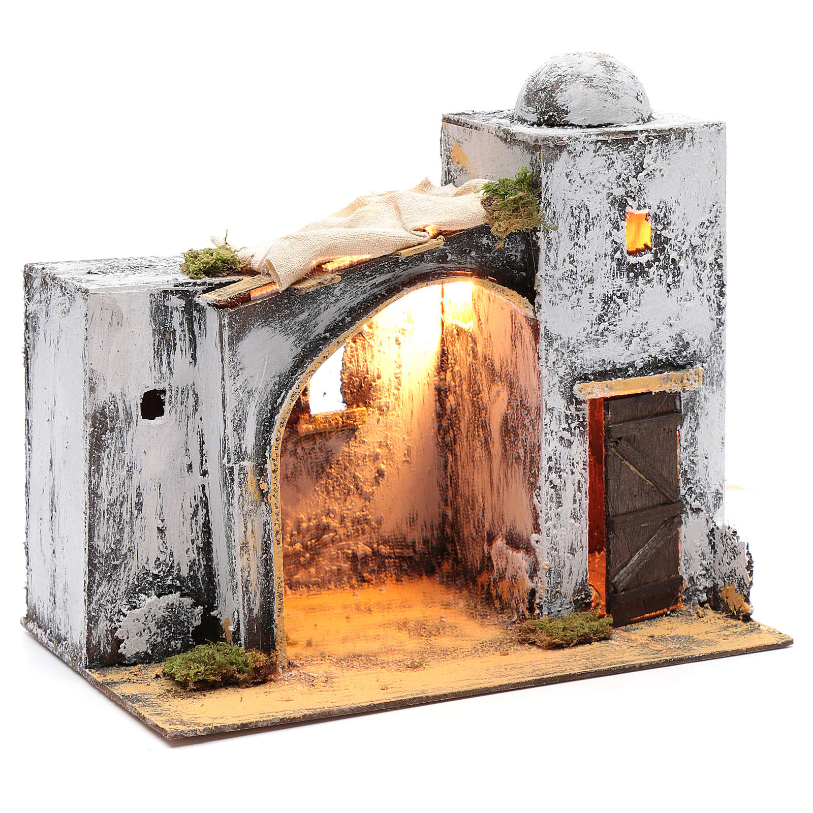 Neapolitan nativity scene Arabian style setting with door and hut 30x30x20 cm 4