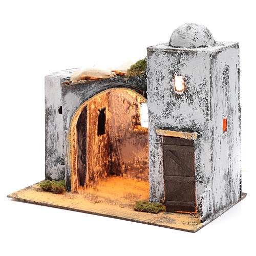 Neapolitan nativity scene Arabian style setting with door and hut 30x30x20 cm 2