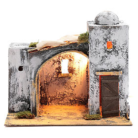 Neapolitan nativity scene Arabian style setting with door and hut 30x30x20 cm s1