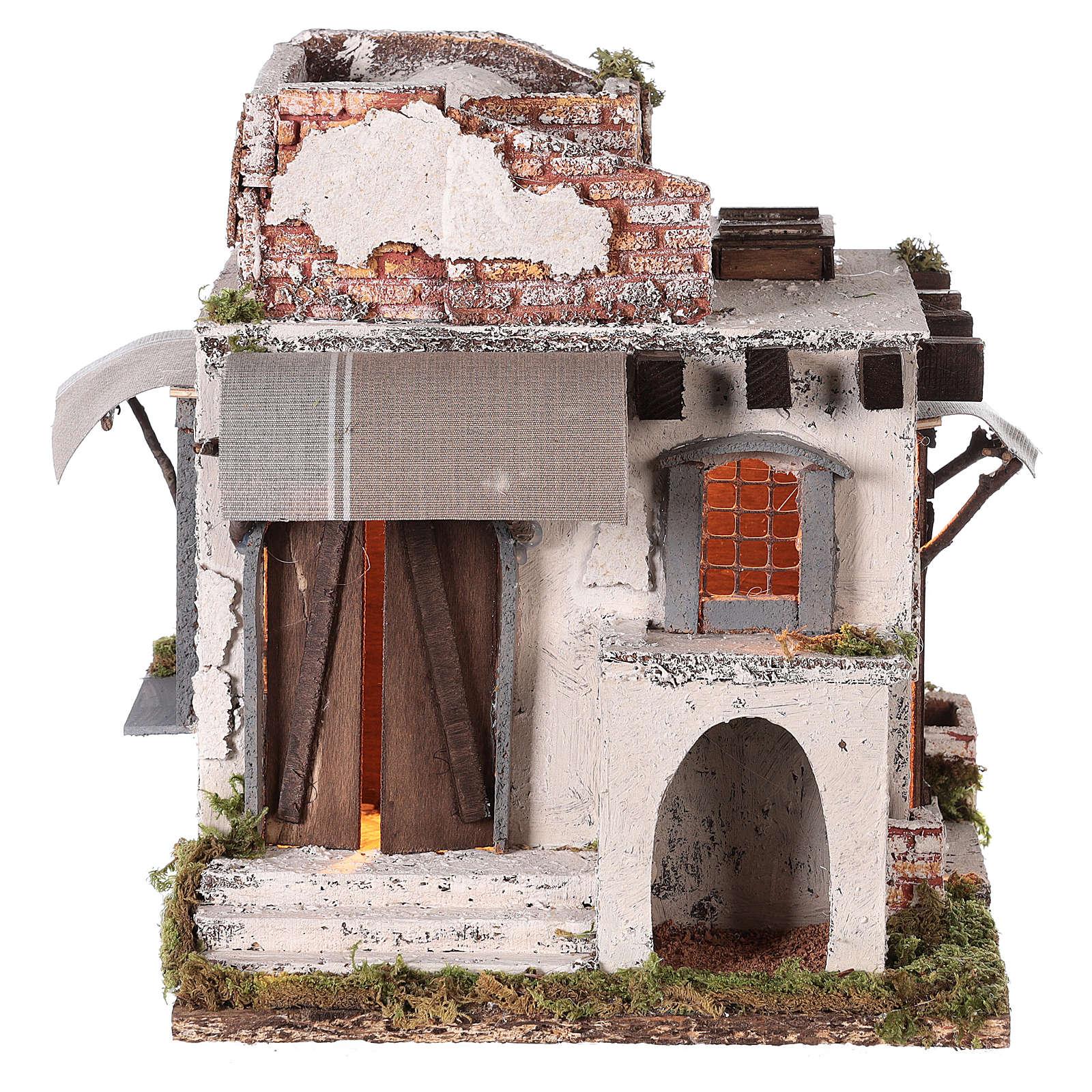 Casa mora puertas y ventanas pesebre napolitano 30x30x25 cm 4