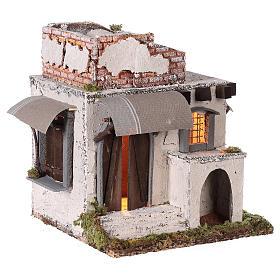 Casa mora puertas y ventanas pesebre napolitano 30x30x25 cm s4