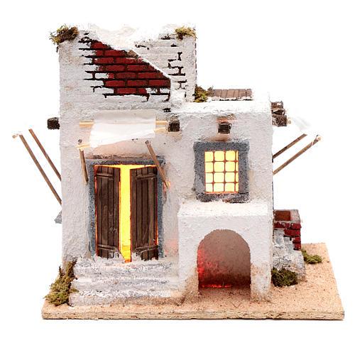 Casa mora puertas y ventanas pesebre napolitano 30x30x25 cm 1