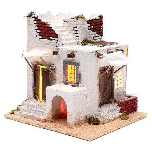 Casa mora puertas y ventanas pesebre napolitano 30x30x25 cm 2