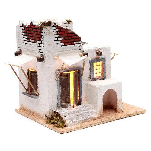Casa mora puertas y ventanas pesebre napolitano 30x30x25 cm 3