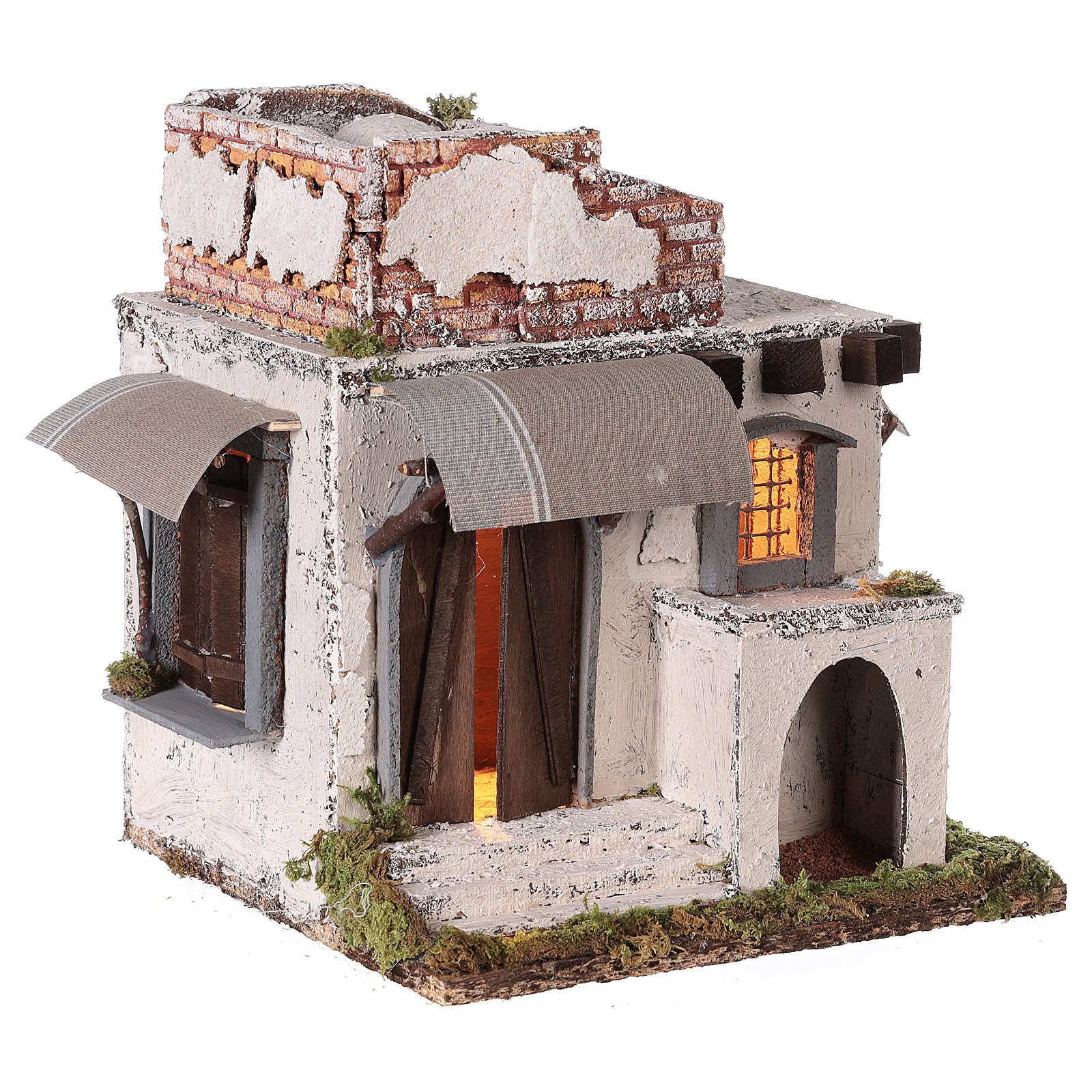 Casa araba porte e finestre 30x30x25 cm presepe di Napoli 4