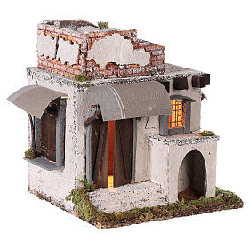 Neapolitan nativity scene Arabian style house with doors and windows 30x30x25 cm s4