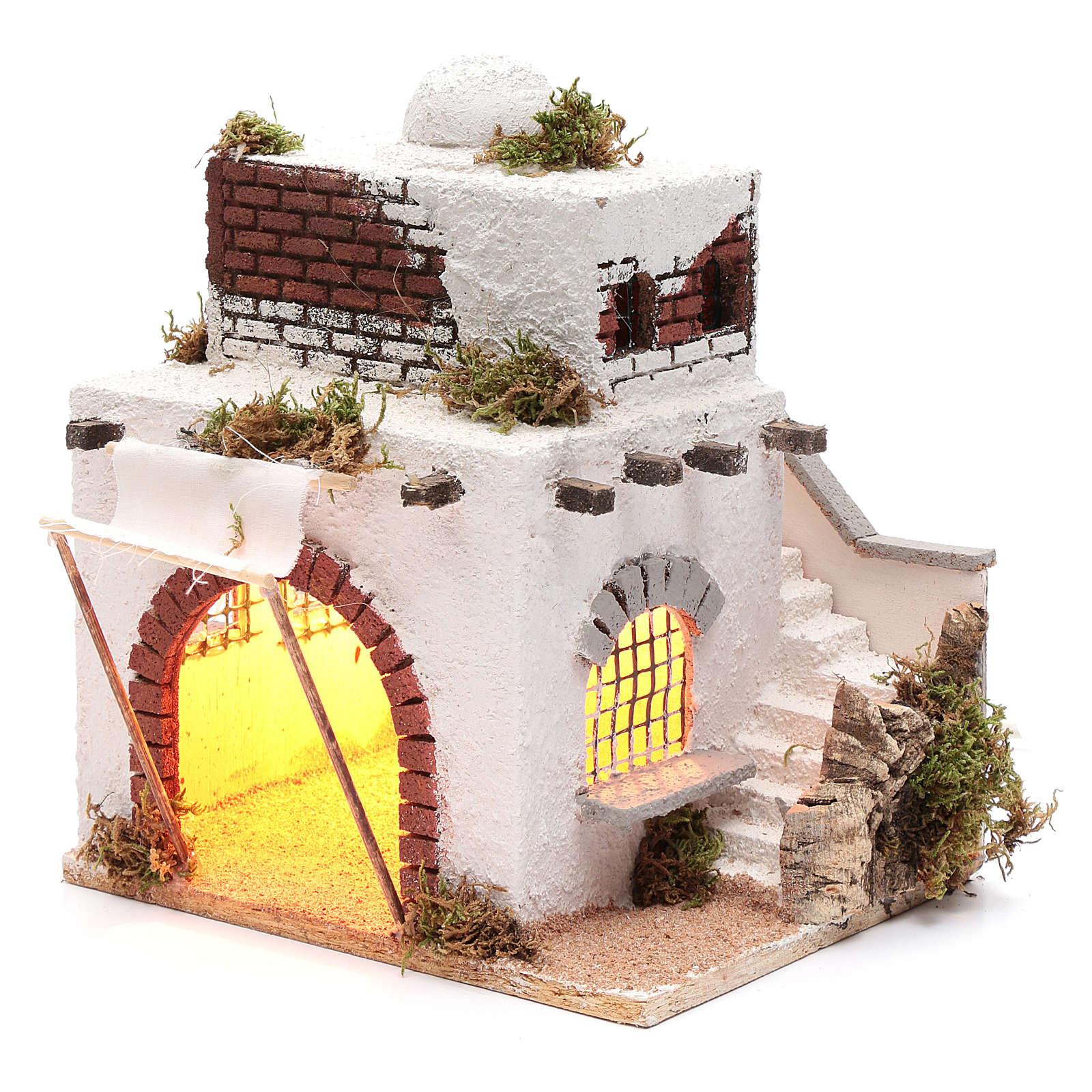 Casa araba scale e arco presepe napoletano 30x25x20 cm 4