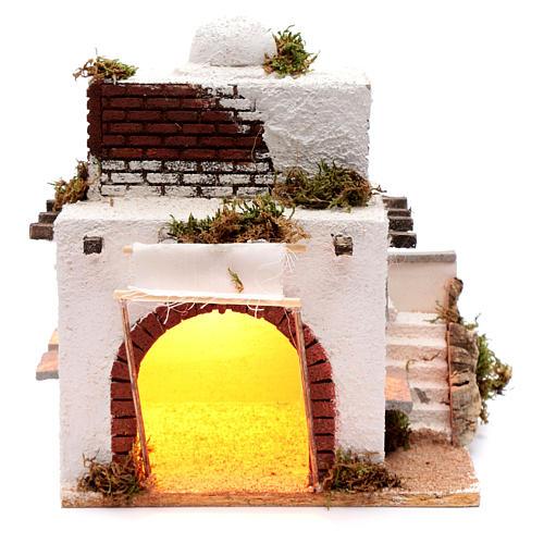 Casa araba scale e arco presepe napoletano 30x25x20 cm 1