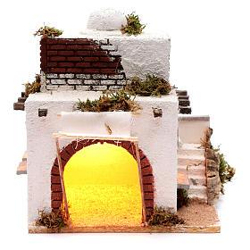 Presépio Napolitano: Casa árabe escada e arco presépio de Nápoles 30x25,4x20 cm
