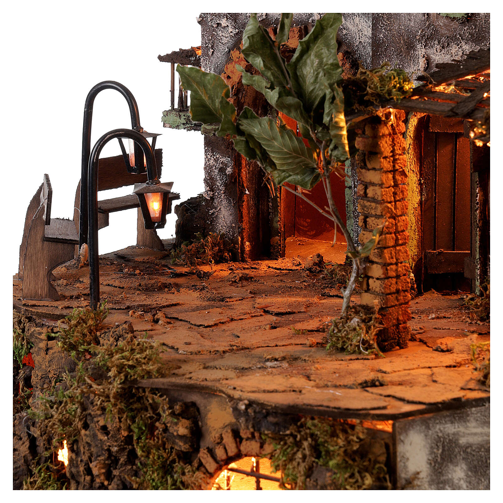 Neapolitan nativity scene with bench and lamppost 60x50x40 cm 4