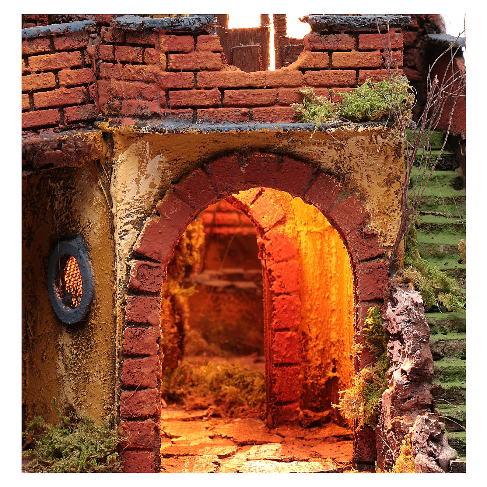Crèche napolitaine avec miroir et puits 56x50x40 cm 4