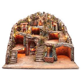 Neapolitan nativity scene setting with hut, stream and mill 55x70x60 cm s1