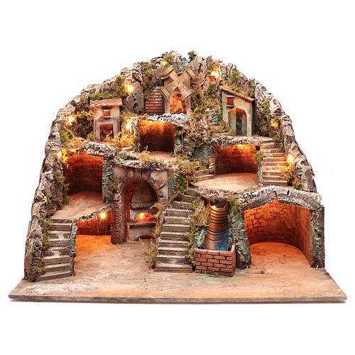 Neapolitan nativity scene setting with hut, stream and mill 55x70x60 cm 1