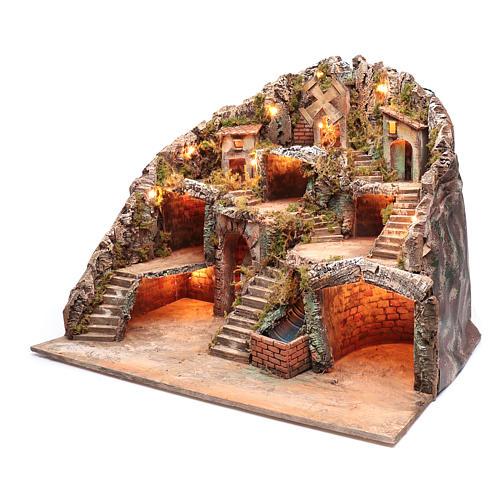 Neapolitan nativity scene setting with hut, stream and mill 55x70x60 cm 2