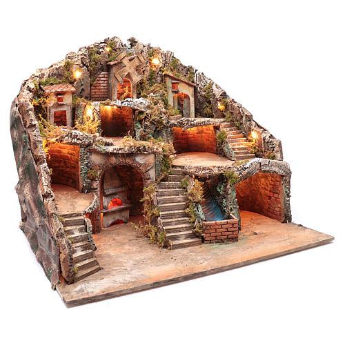 Neapolitan nativity scene setting with hut, stream and mill 55x70x60 cm 3