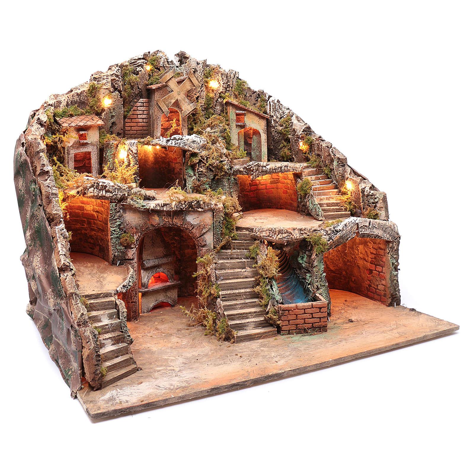 Presepe napoletano capanna ruscello e mulino 55x70x60 cm 4