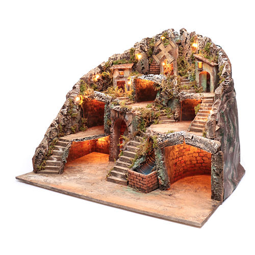 Presepe napoletano capanna ruscello e mulino 55x70x60 cm 2