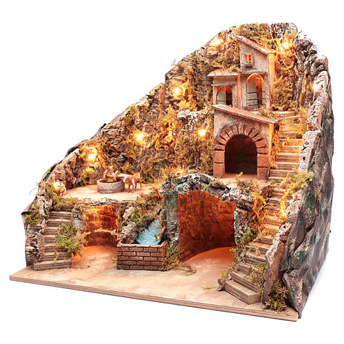 Neapolitan nativity scene setting with stream, cow and bell 50x55x45 cm 2