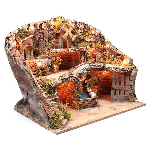 Escenografía para pesebre Nápoles portal cascada y molino 53x60x40 3