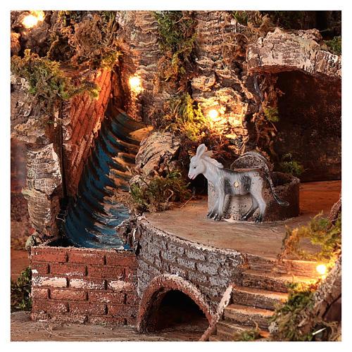Neapolitan nativity scene setting with moving donkey and stream 45x50x35 cm 2