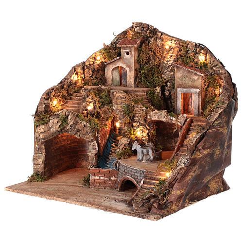 Neapolitan nativity scene setting with moving donkey and stream 45x50x35 cm 3