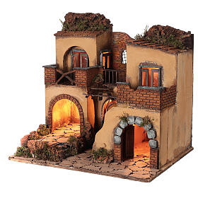 Neapolitan nativity scene setting with arch and temple 50x65x40 cm s3