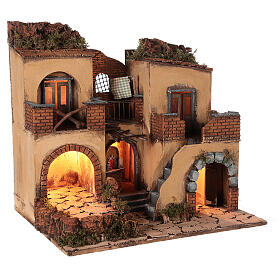 Neapolitan nativity scene setting with arch and temple 50x65x40 cm s4