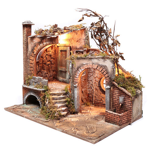 Neapolitan nativity scene setting with arch and temple 50x65x40 cm 2