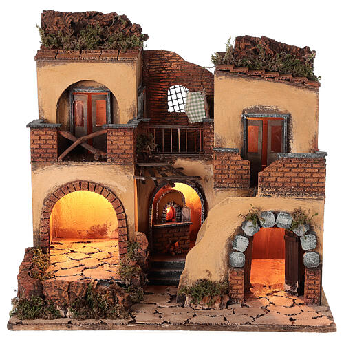 Neapolitan nativity scene setting with arch and temple 50x65x40 cm 1