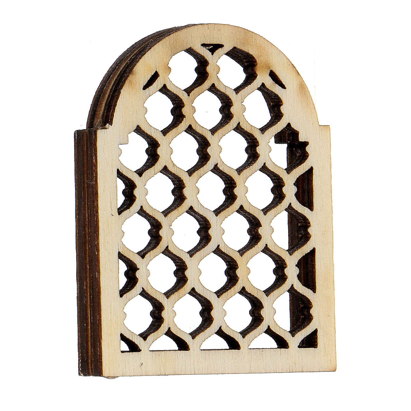 Ventana árabe de madera elaborada belén napolitano 4