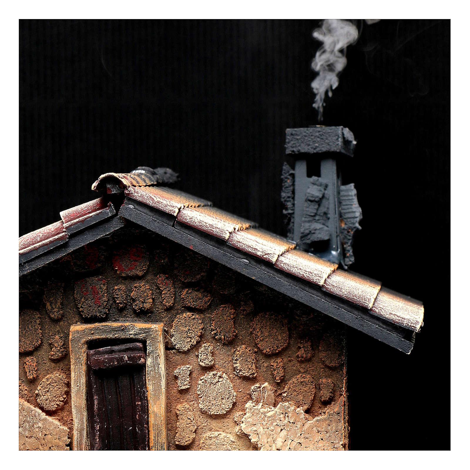Hostería con humo para pesebre 40x30x25 cm 4