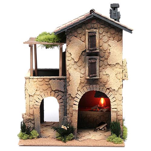 Hostería con humo para pesebre 40x30x25 cm 1