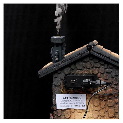 Hostería con humo para pesebre 40x30x25 cm 5