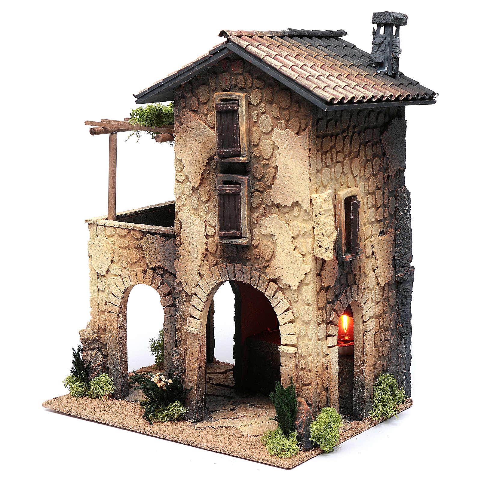 Nativity Scene inn with smoke 40x30x25 4